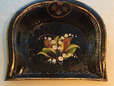 Victorian Tin Tollware Tray,antique Tray,black Japaned Crimb Tray,bargeware Vgc
