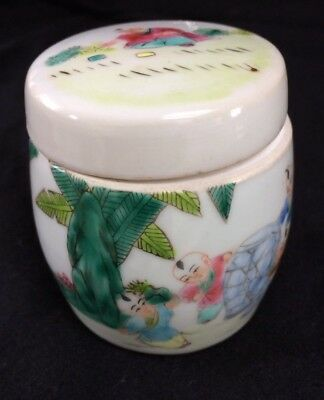 Vintage Antique Chinese Export Porcelain Ginger Jar,hand Painted,good Condition