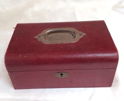 ANTIQUE VINTAGE WOODEN JEWELERY BOX,RED LEATHER COVERED,VICTORIAN,FITTED,20x13CM