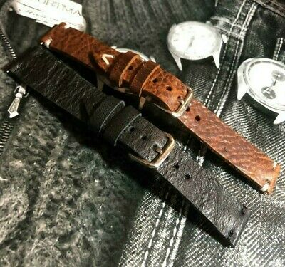 Distressed Italian Weathered Genuine Buffalo Leather Watch Strap H/M 18 19 20mm