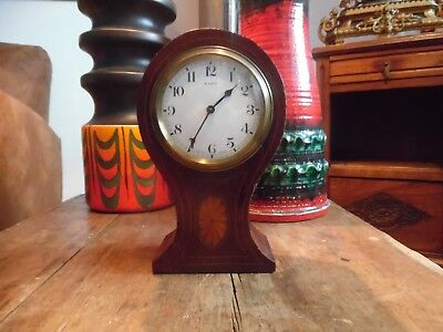 Bayard 8 Days Lever Movement Balloon Shaped Wooden Inlaid Mantel Clock