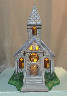 PartyLite Church Tealight House Olde World Village Stained Glass Church Box