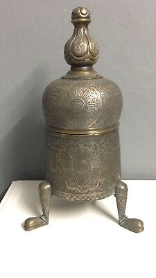 A Large Islamic Cairoware Ottoman Silver Inlaid Mumluk Revival Incense Burner