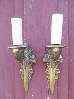 Antique Wall Sconces - Vintage Pair French Neoclassical Gilt Bronze Single Arm