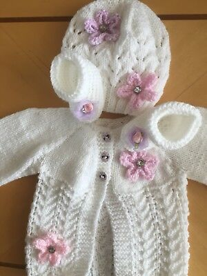 Hand Knitted Baby Matinee Set , Hat / Coat And Boots  0/3m