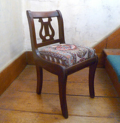 ~ vintage Mahogany CHILD'S CHAIR ~ LYRE/Harp BACK ~ Upholstered