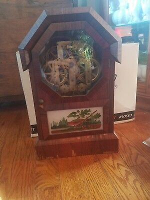 Antique Seth Thomas Adamantine 8 day spring mantle shelf clock runs