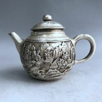 Chinese ancient pure copper hand-carved building design teapot