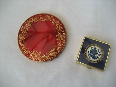 Two Vintage Enamel Top Powder Compacts