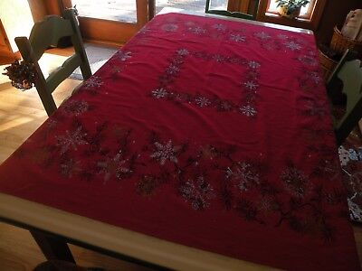 Vintage Printed Christmas Tablecloth Red w/ Silver Gold & Black Snowflakes 46x52