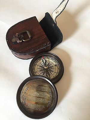 "Sale!!! 2"" Stanley London Robert Frost poem Compass With Leather Pouch"