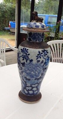 Pair Of Blue & White Crackle Glaze Chinese Lidded Urn/jar With Foo Dog Finial