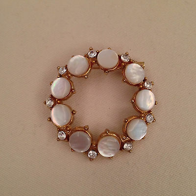 Vintage Mother of Pearl and Rhinestones Pin