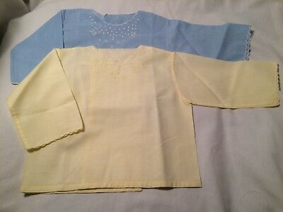 Vintage baby cotton diaper shirts blue and yellow back closure #7