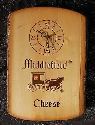 Huggler Carved Wood Clock Switzerland Middlefield Cheese Pine Wood Eclectic Cool