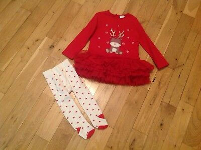 BABY GIRL XMAS DRESS & TIGHTS - AGE 18-24 months