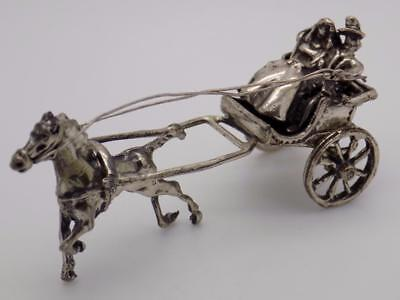 Vintage Solid Silver Italian Made Just Married Carriage Miniature,Figurine,Stamp