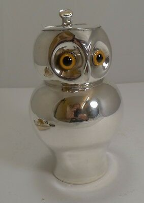 Rare Antique English Novelty Silver Plated Jug - Owl With Glass Eyes c.1910