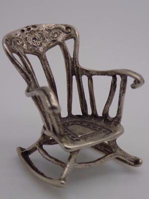 Vintage Solid Silver Italian Made LARGE Rocking Chair Miniature, Stamped