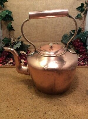 Antique Georgian Seamed Copper Kettle 31cms Tall