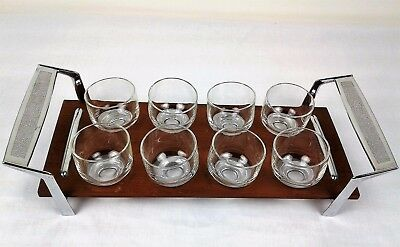 Mid Century Wood Metal & Serving Tray with 8 Lowball Roly Poly Glasses