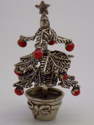 Vintage Solid Silver Italian Made Christmas Tree Miniature, Figurine, Stamped