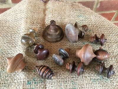 Job Lot 12 Vintage/antique wooden Salvaged reclaimed knobs