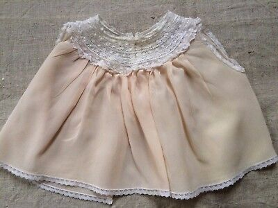 Vintage premie/newborn/baby doll pale peach airy top with lace #8