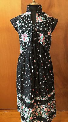 Vintage Floral cotton tank dress sundress set with matching bolero jacket size S