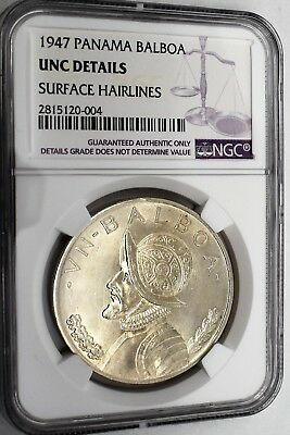 1947 Panama Balboa Uncirculated Details Surface Hairlines By Ngc