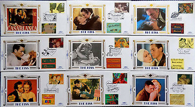 "VINTAGE MOVIE STARS ""THE KISS"" 1995 BENHAM SILK LIMITED EDITION SET of 10 FDC's"