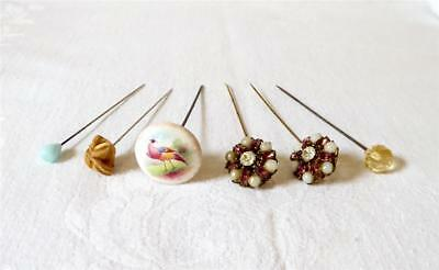 Six Antique Late 19Th Early 20Th C Hat Pins