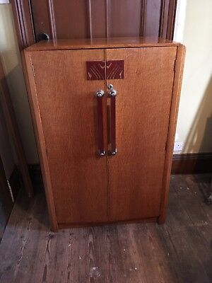 Original art deco style cupboard with built in shelves and 5 drawers