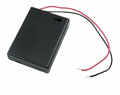 AAA x 4 Enclosed Battery Holder Box with On/Off Switch 15cm Wires