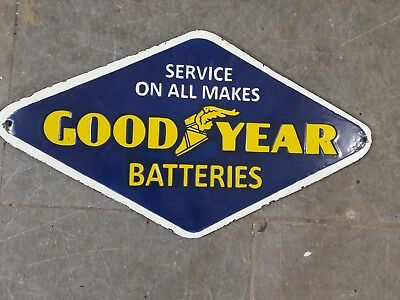 Porcelain Good Year Batteries Enamel Sign 18 x 10 INCHES
