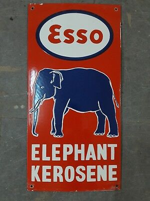 """ESSO ELEPHANT Porcelain Sign SIZE 12"""" X 24"""" INCHES"""