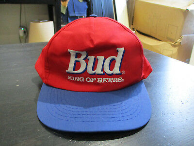 VINTAGE Bud King Of Beers Snap Back Hat Cap Budweiser Red Blue Spell Out 90s