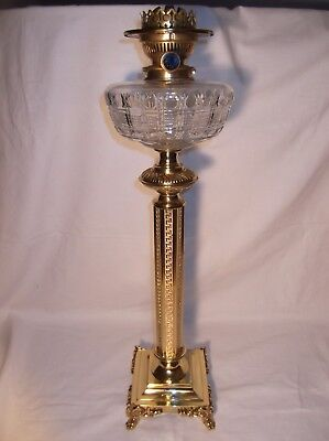 Large, Heavy  Victorian  Cut Glass Oil Lamp on Quality Cast brass Column.