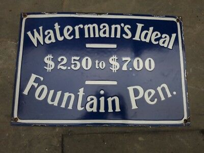 """Porcelain WATERMAN'S IDEAL Sign SIZE 12"""" X 18"""" INCHES"""