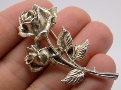 Vintage Solid Silver Italian Made Stunning Large Rose Brooch, Stamped