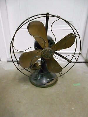 """Antique/vintage General Electric Ge 3 Speed 12"""" Brass Electric Fan - Works Great"""