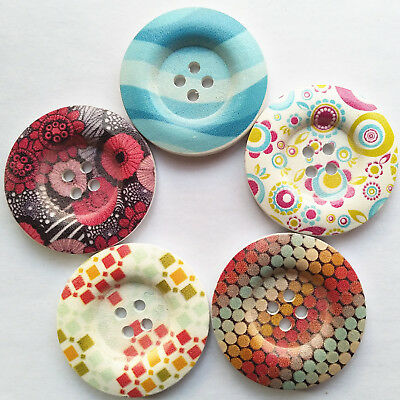 Multi Styles 40mm Big Wood Button Clothes Overcoat Sewing Diy Craft Embelishment