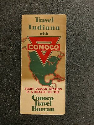 1930's Conoco Service Station Indiana Road Map
