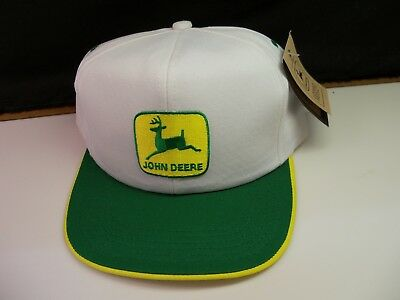John Deere Green & White & Yellow Hat Cap Vintage Old Store Stock - New w/ Tag