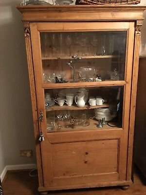 Antique Stripped Continental Pine Display Cabinet
