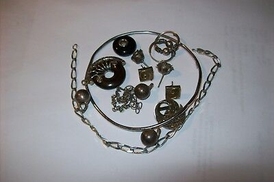 Assorted Solid Silver  Bangle  Chain Earrings  Pendant  Scrap Silver 26.6 Grams