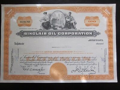 Sinclair Oil Corporation Stock Certificate 100 shares 1968