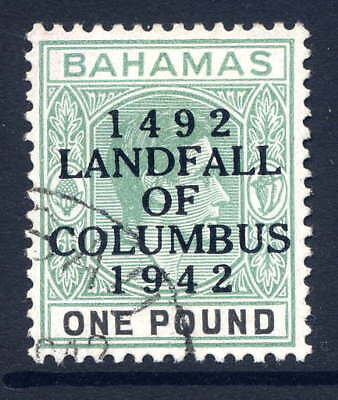 BAHAMAS 1942 LANDFALL £1 GREY-GREEN & BLACK VERY FINE CDS USED. GIBBONS 175a.