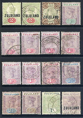 Zululand 1888-96 Group Of Sixteen Fine Cds Used Values To 1/- (Eight Different)