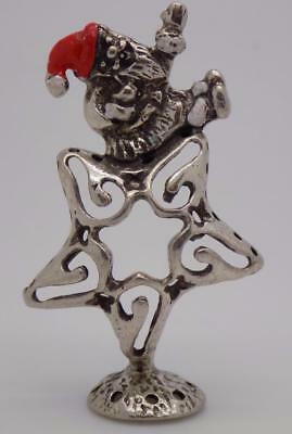 Vintage Solid Silver Italian Made Christmas Santa Star Miniature, Figurine,Stamp